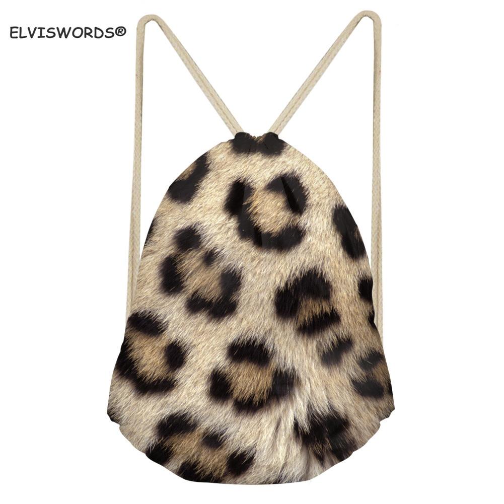 ELVISWORDS Leopard Drawstring Bag Portable String Shoulder Bag Travel Daypack Animal Skin Print Outdoor Sport Backpacks For Kids