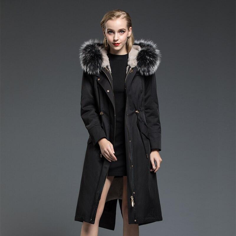 Fur Real Parka Coat Female Natural Rabbit Fur Liner Long Coats Winter Jacket Women Raccoon Fur Collar Warm Parkas MY3501 S S