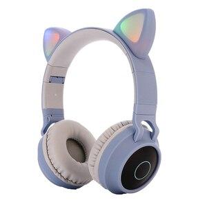 Image 5 - Vococal Mèo Tai Nghe Có Thể Gập Lại Quá Tai Tai Nghe Bluetooth 5.0 Có Đèn Led Hỗ Trợ Thẻ TF Dành Cho Trẻ Em Giáng Sinh quà Giáng Quà Tặng