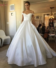 Ball Gown Off The Shoulder Ivory Wedding Dresses 2019 New White Elegant Satin Zipper Bridal Gowns Church vestido de noiva