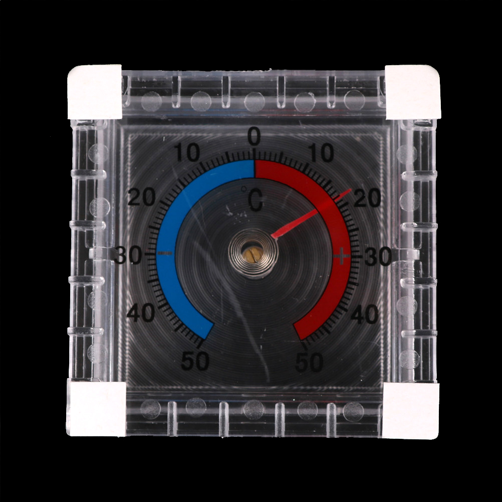 Portable Square Window Wall Indoor Outdoor Thermometer Temperature Measurement Instruments Blue Red Scale Easy See