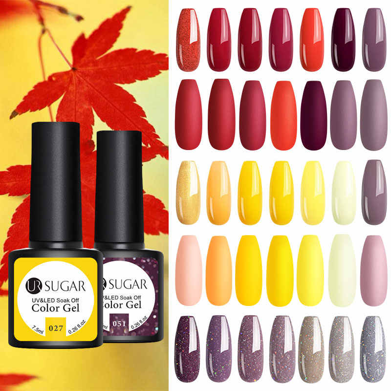 UR Gula 7.5 Ml Gel Nail Polish Musim Gugur Matte Top Coat Warna Gel Semi Permanen Rendam Off UV LED Gel pernis Pernis