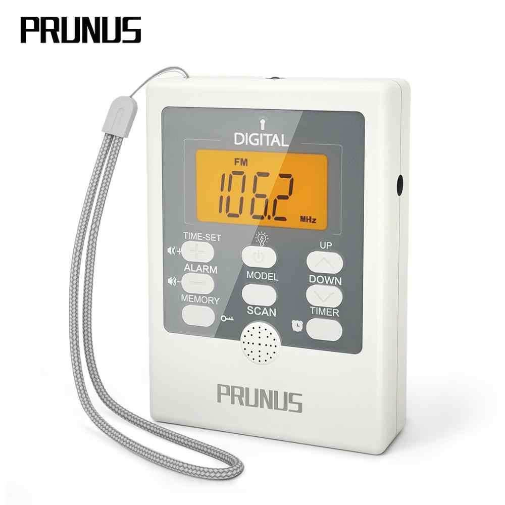 PRUNUS J-157 radio portátil FM/AM receptor de radio luz LED de emergencia/SOS/función de temporizador Mini radios de bolsillo con altavoz