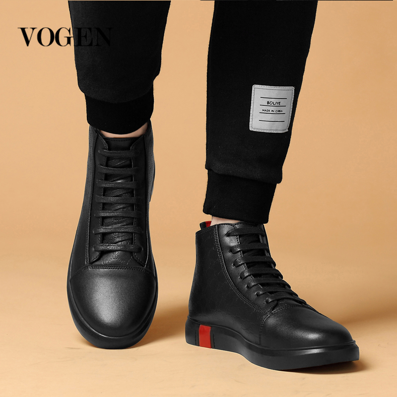 Male Shoes Adult Big Size 46 12 High Top Sneakers Mens Keep Warm In Winter Genuine Leather Designer Shoes Men Luxury Shoes