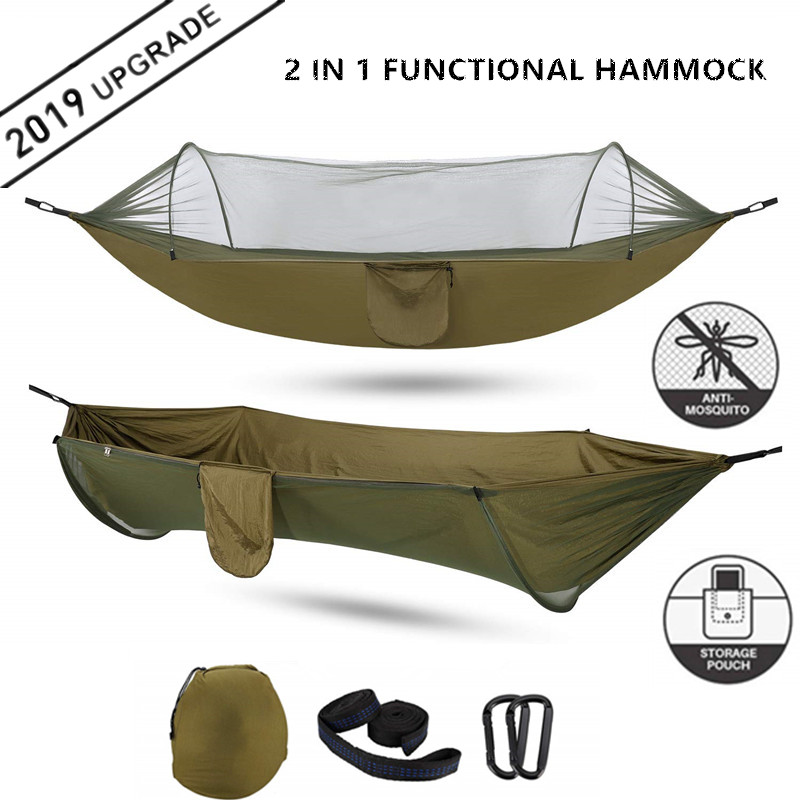 2020 Camping Hammock with Mosquito Net Pop-Up Light Portable Outdoor Parachute Hammocks Swing Sleeping Hammock Camping Stuff(China)