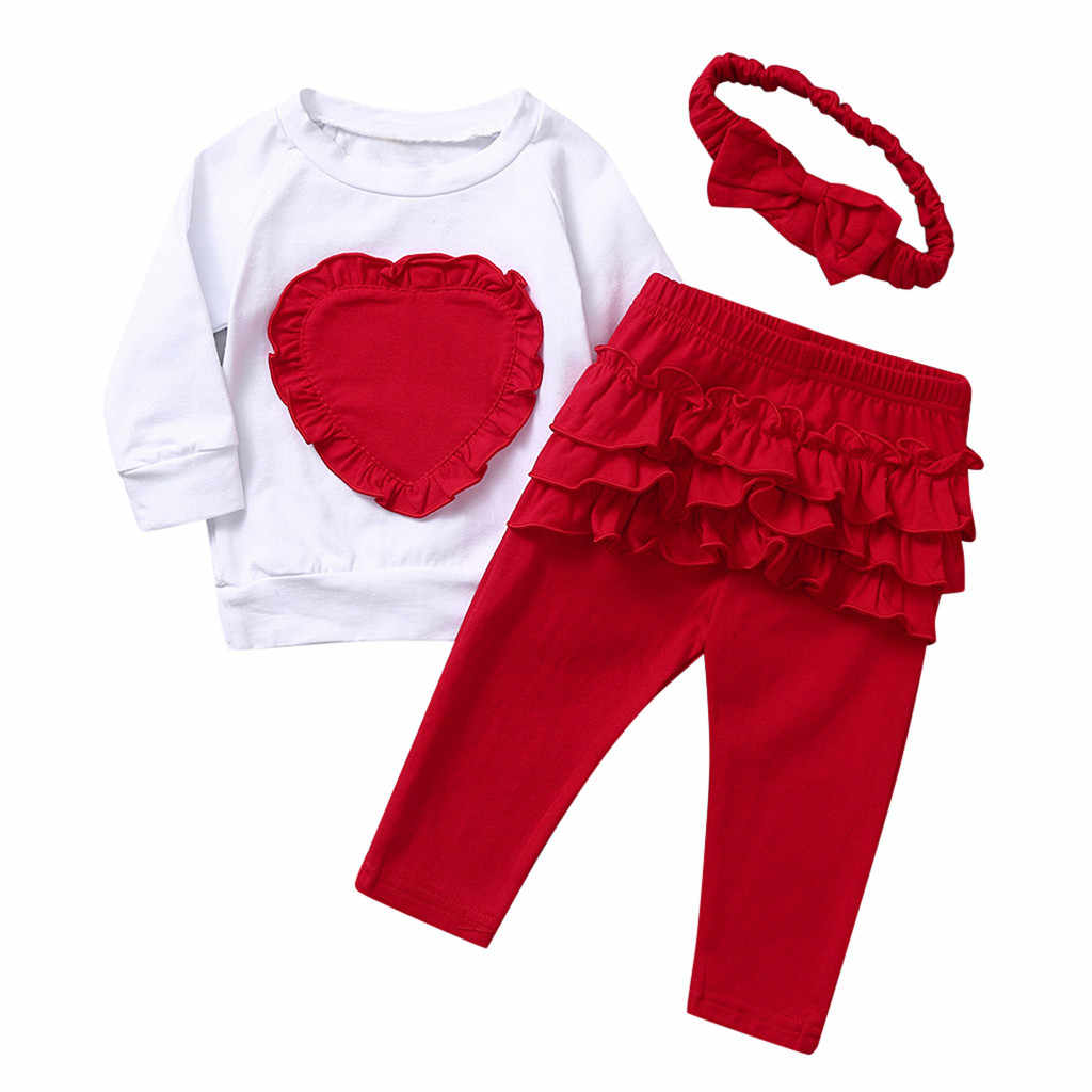Infant Baby Girls Long Sleeve Love T-shirt Tops+Ruffles Pants+Headband Outfits