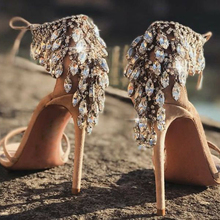 Heel Sandals Bridal-Pump Lace-Up Bling-Rhinestone-Cover Strappy Suede Gladiator Woman