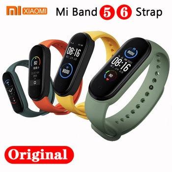 100% Original Xiaomi mi band 6 5 strap silicone bracelet Mi band6 Yellow Strap wrist XiaoMi Mi Band 5 replacement silicone strap 1