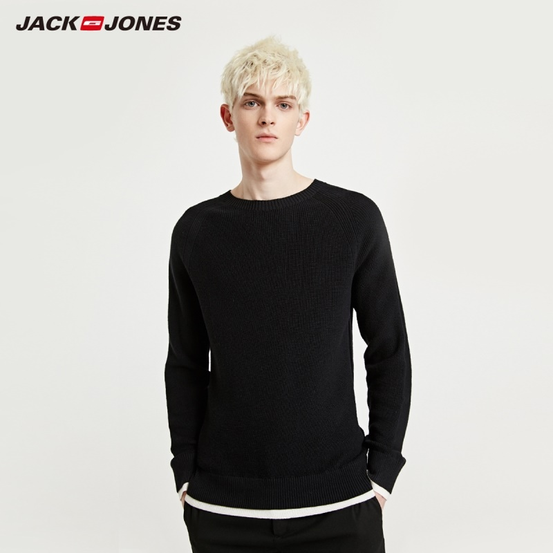 JackJones  Men's Pure Color Contrasting Cotton Knit Basic Sweater| 219124522