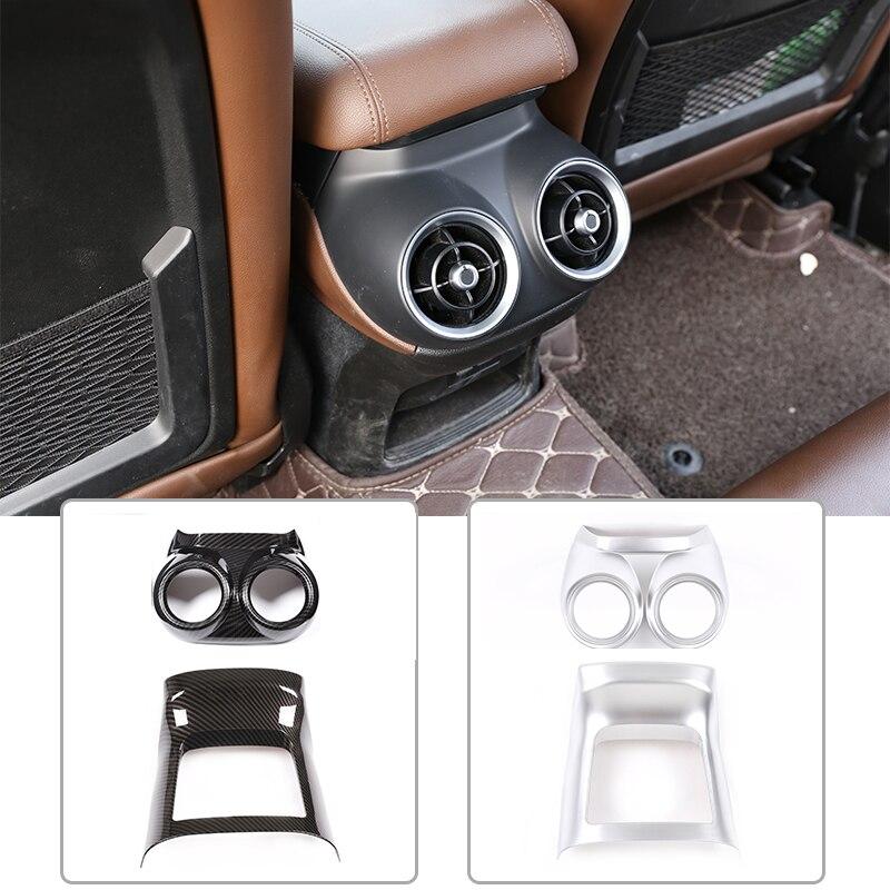 For Alfa Romeo Stelvio 2017-2020 ABS Carbon Fiber Matt Silver Car Accessories Rear Exhaust Vent Decorative Frame Car Accessories