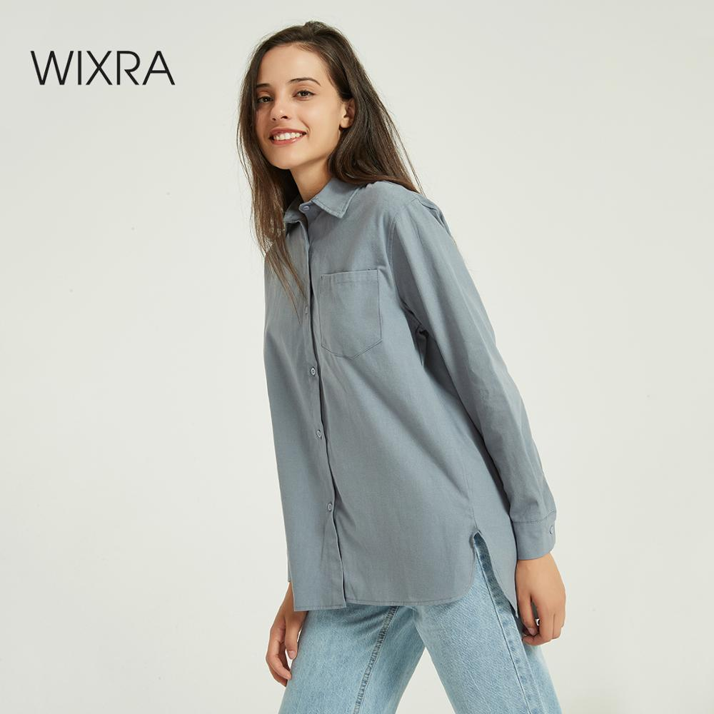 Wixra Women BF Style Blouse Ladies Pockets Long Sleeve Casual Loose Shirts Autumn Spring Tops Ladies Clothing