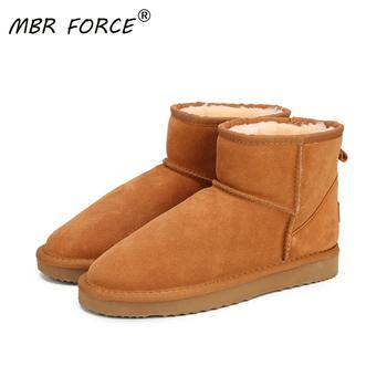MBR FORCE Australia kobiety śniegowe buty 100 prawdziwa skóra bydlęca skórzane botki ciepłe buty zimowe kobieta buty duży rozmiar 34-44 tanie i dobre opinie CN (pochodzenie) Prawdziwej skóry ANKLE Platforma Stałe MBR FORCE B052 Dla dorosłych Mieszkanie z Buty śniegu Pluszowe