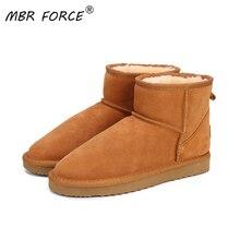 Mbr força austrália mulheres botas de neve 100% couro genuíno botas de tornozelo botas de inverno quente mulher sapatos tamanho grande 34 44