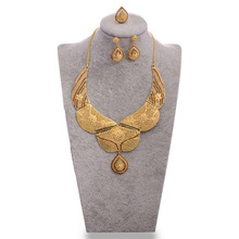 Wando 24K Gold Color Dubai Bride Jewelry sets For Women Necklace/Earring/Ring/ Ethiopian/Middle Easter/India/Kenya Jewelry Gifts anniyo good quality habesha ethiopian gold color necklace earrings ring hair chain jewelry sets african wedding gifts 047611