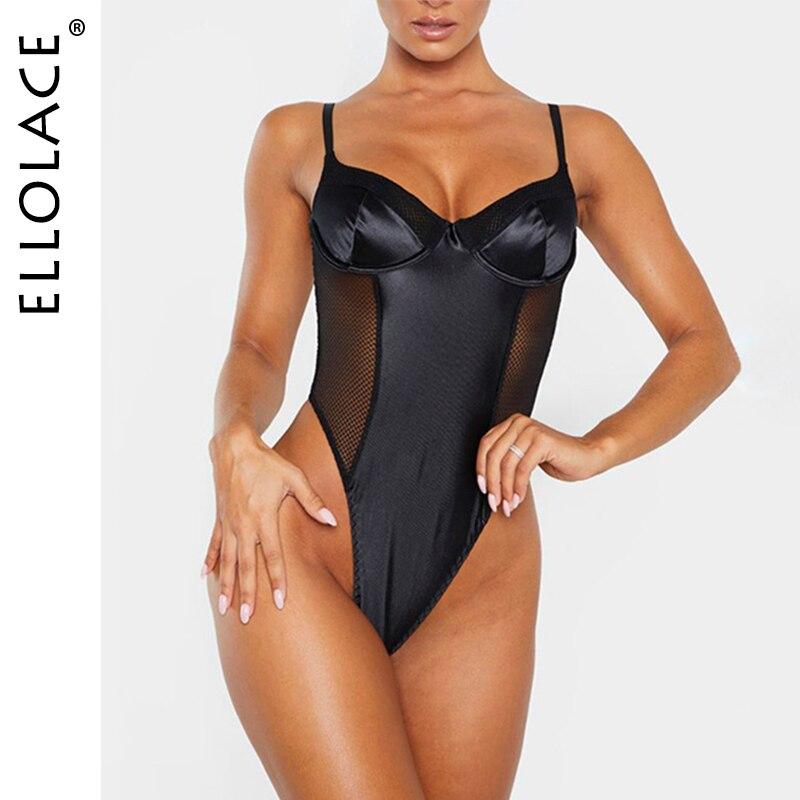 Ellolace Sexy Solid Mesh Bodysuit Women Sertin Patchwork Body Sleeveless Bodycon Blackless Rompers Basic White Female Overalls