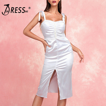 INDRESSME 2019 New Women Strap Draped Ruffles Sleeveless V-Neck Split Knee Length Sexy Solid Dress Lady Fashion Party