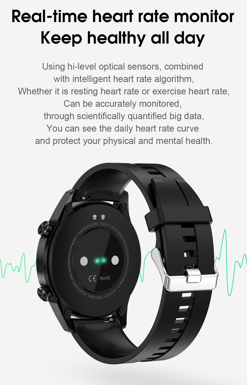 Hf99ba27bc54e4af0b001b79e7d644aecw IPbzhe Smart Watch Men Thermometer ECG Smart Watch IP68 Waterproof Blood Pressure Smartwatch Reloj Inteligente For Huawei Xiaomi