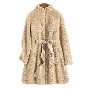 Ropa de invierno para Mujer, Abrigo de piel Real Coreana de otoño...