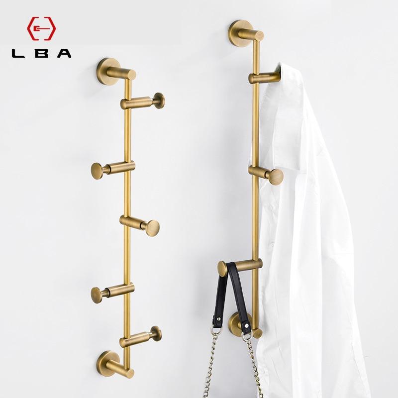 LBA Nordic brass wall-mounted coat rack towel rail simple American golden light luxury clothes rack storage entrance hook