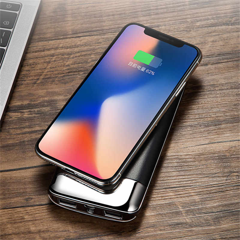 30000 MAh Power Bank External Battery Bank Built-In Nirkabel Charger Powerbank Portable Qi Wireless Charger untuk iPhone 8 samsung