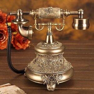 Image 3 - Antik altın kablolu telefon Retro Vintage döner masa ile telefon telefon tekrar arama, eller serbest, ev ofis dekorasyonu