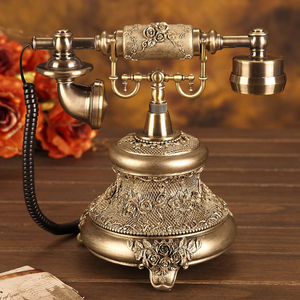 Image 3 - Antique Golden Corded Telephone Retro Vintage Rotary Dial Desk Telephone Phone with Redial, Hands free, Home Office Decoration