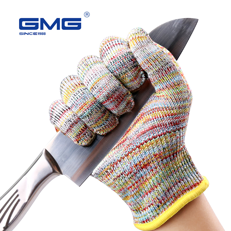 Cut Resistant Gloves Level 5 GMG Multicolor HPPE Food Grade For Kitchen Anti-cut Level 5 Safety Work Gloves Cut Resistant Gloves