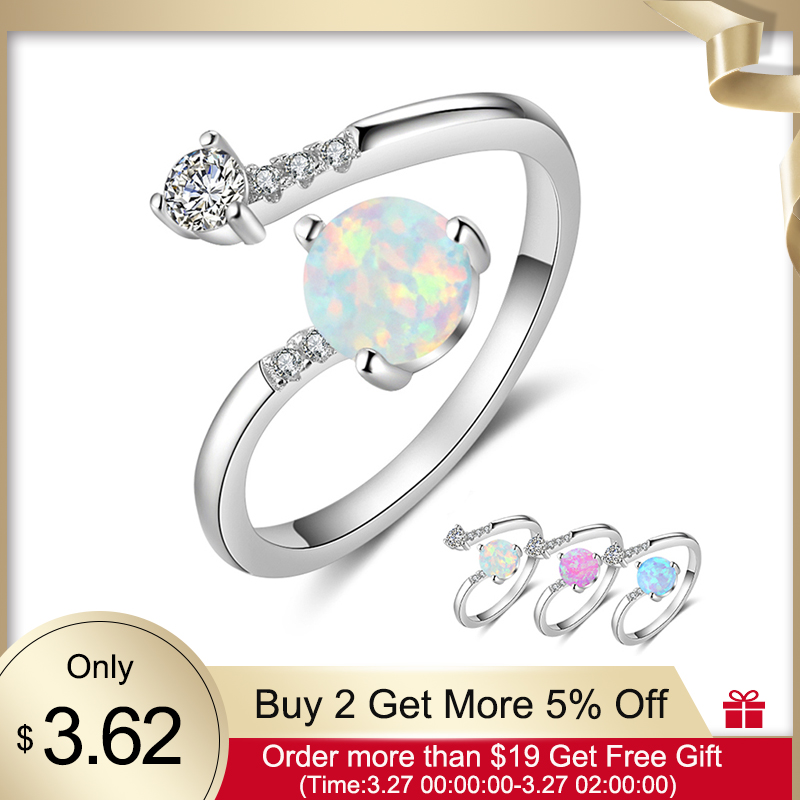 925 Sterling Silver Created Round Blue Opal Rings For Women Cubic Zirconia Adjustable Wrap Ring Wedding Jewelry (Lam Hub Fong)