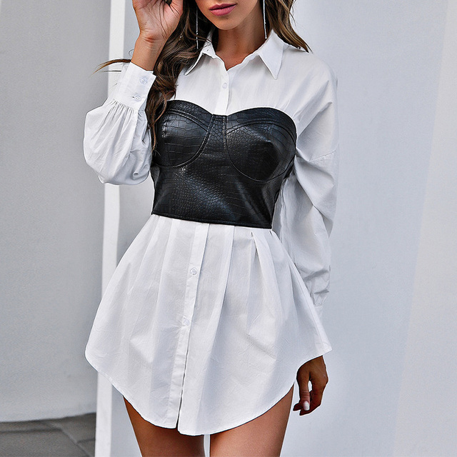 Women Faux Leather Patchwork White Shirt Dress 2021 Spring Casual Long Sleeve Plaid Chic Dress Lady Mini A Line Office Vestidos 4