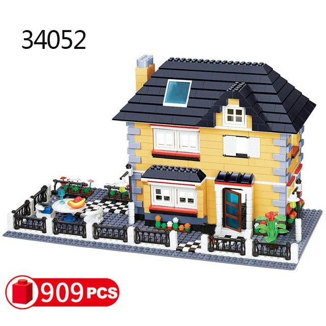 Городская архитектура вилла модель коттеджа Совместимость Legoingly друзья пляж хижина модульный дом деревенские строительные блоки детские игрушки - Цвет: 34052