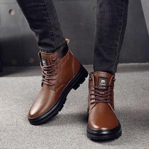 Image 4 - أوسكو جلد أصلي للرجال أحذية برقبة طويلة مقاومة للماء الرجال حذاء كاجوال موضة حذاء من الجلد للرجال عالية أعلى الشتاء الرجال الأحذية