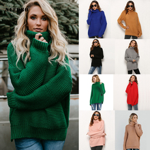 Turtleneck Sweater Women Knit Autumn Winter Solid Oversize Pullover Jumpers Long Sleevee