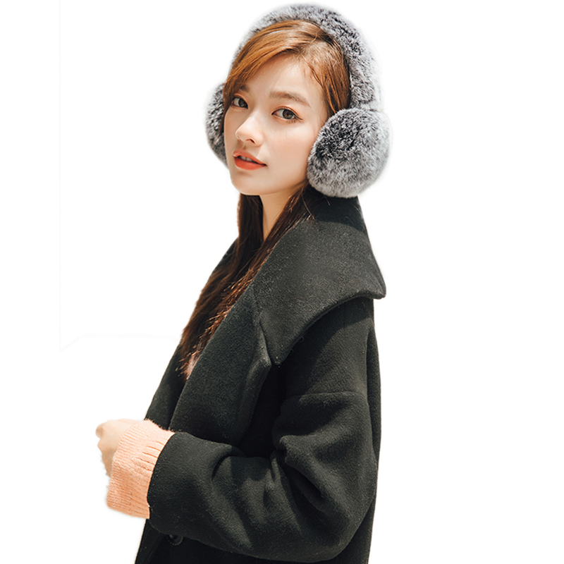 New Fur Earmuffs For Women Real Rabbit Fur Winter Warm Ear Warmers Christmas Gifts For Lovely Girls 17Colors