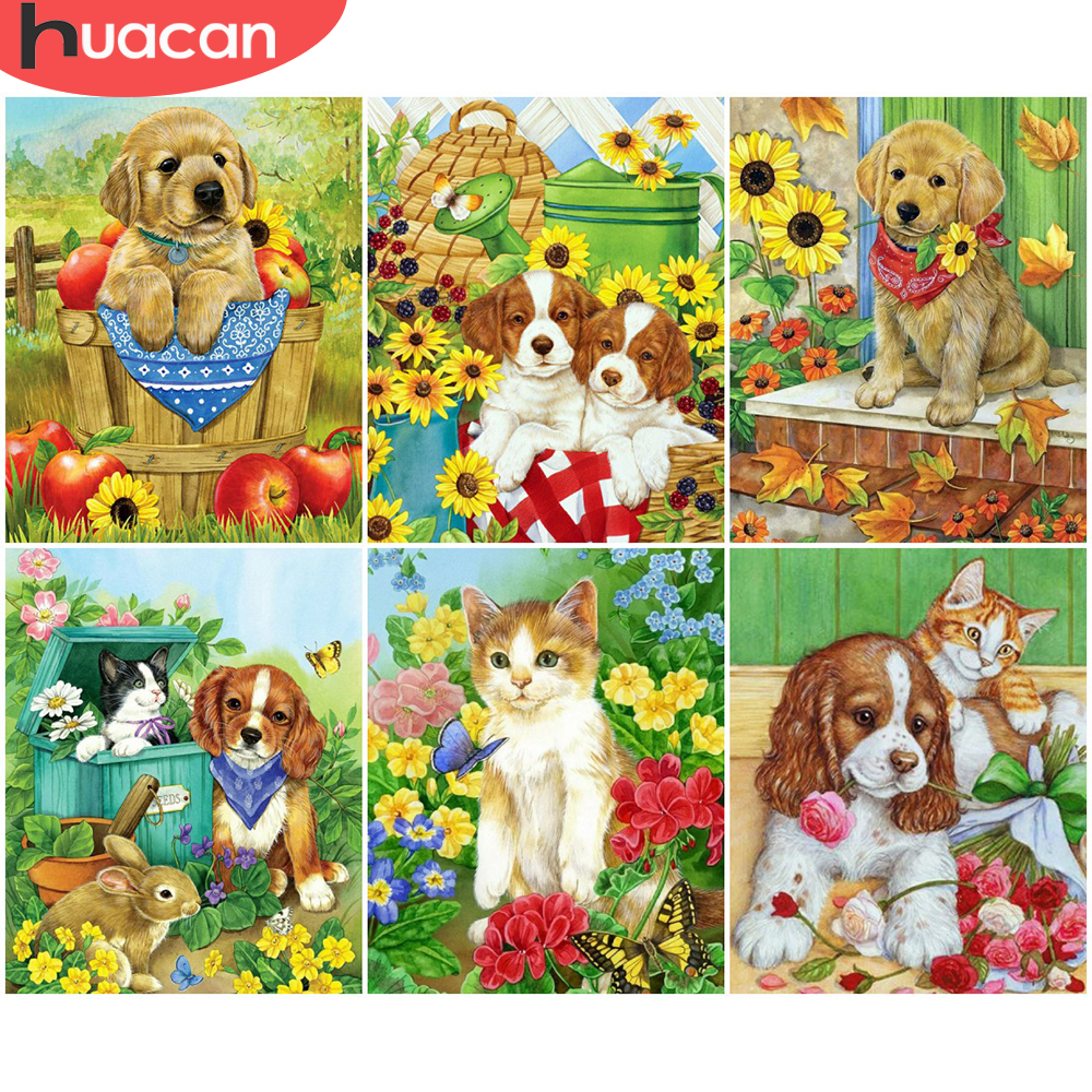 HUACAN Pictures By Number Dog Kits Home Decor DIY Painting By Numbers Cat Animal Drawing On Canvas HandPainted Art Gift