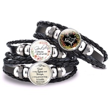 Church Souvenirs Bible Verse Bracelet Women Men Serenity Prayer Leather Black Bangle Faith Jewelry Gifts for Christian Believers new fashion pray without ceasing bible verse christian necklace cabochon pendant inspirational jewelry women men faith gifts