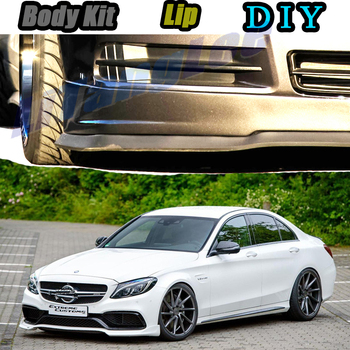 Car Bumper Lip Front Spoiler Skirt Deflector For Mercedes Benz C C63 MB W202 W203 W204 W205 Modified Body Kit VIP Hella Flush image