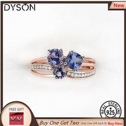 Dysonjewelry 925 anel de prata esterlina para mulher crered pedra preciosa tanzanite rosa banhado a ouro delicado luxo jóias finas