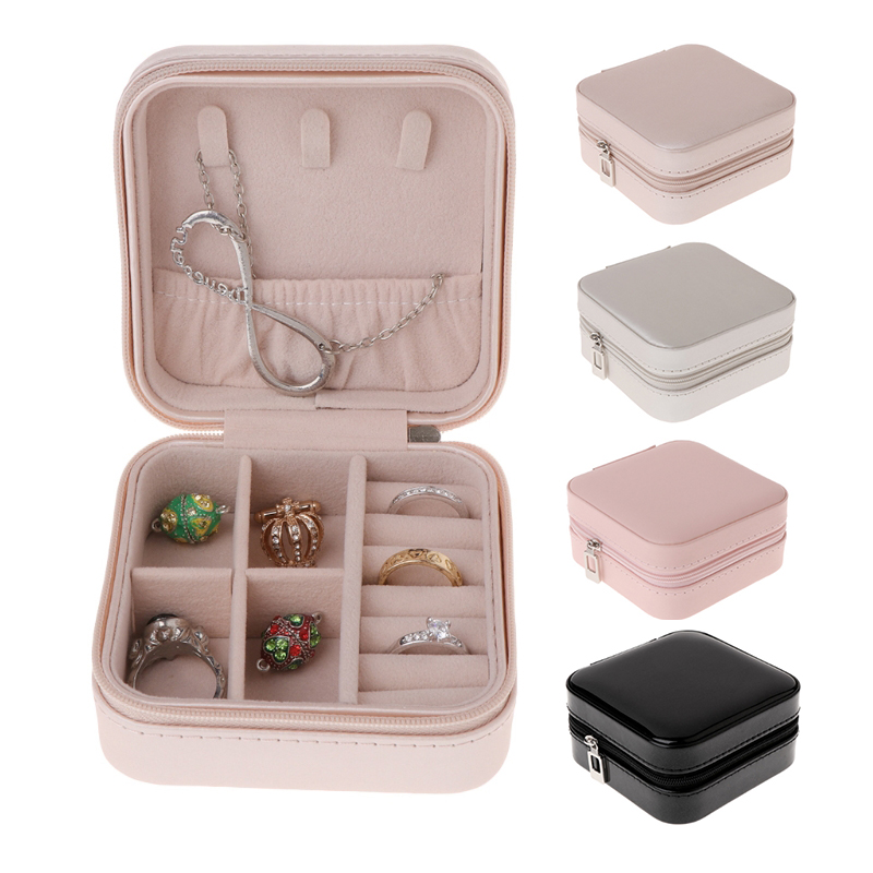 Jewelry Box Portable Storage Organizer Zipper Women Display Travel Ring Case Necklace Earring Holder For Valentine 2020
