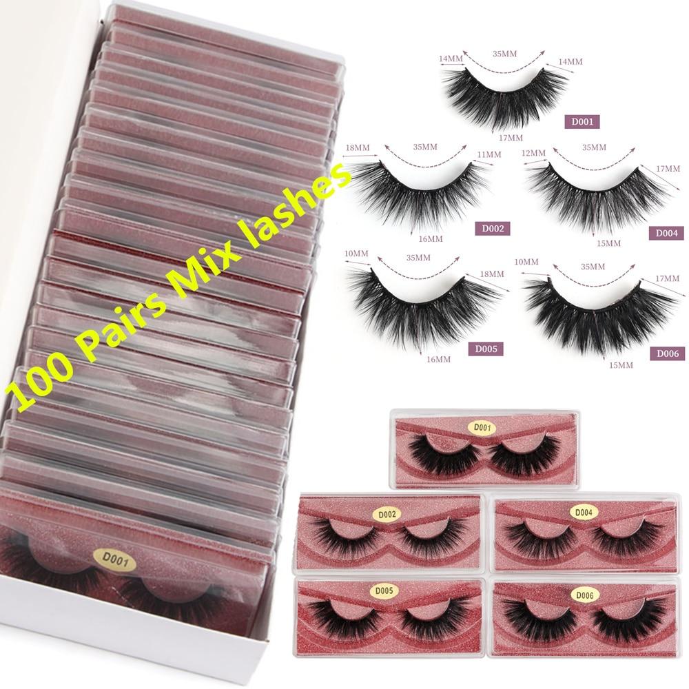 Wholesale Eyelashes 20/30/40/50/100 Pairs Mink Eyelashes Makeup Volume 3D Mink Lashes In Bulk Natural False Eyelashes Maquiagem