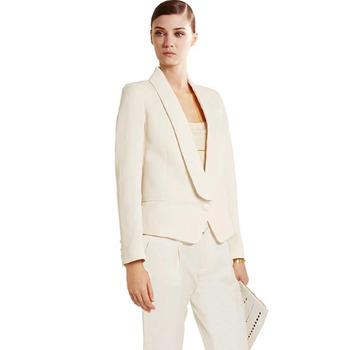 Niestandardowy Trend w kolorze kości słoniowej nowy biznes formalne eleganckie kobiety komplet garniturów marynarki spodnie garnitury biurowe spodnie damskie garnitury garnitury tanie i dobre opinie CN (pochodzenie) COTTON Akrylowe REGULAR Ścięty Zipper fly Osób w wieku 18-35 lat Suits Women-ET1 Pojedyncze piersi Pant suits