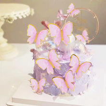 10pcs Happy Birthday Butterfly Cake Topper Paper Card Cupcake Baking Decoration for Wedding Birthday Party Supplies