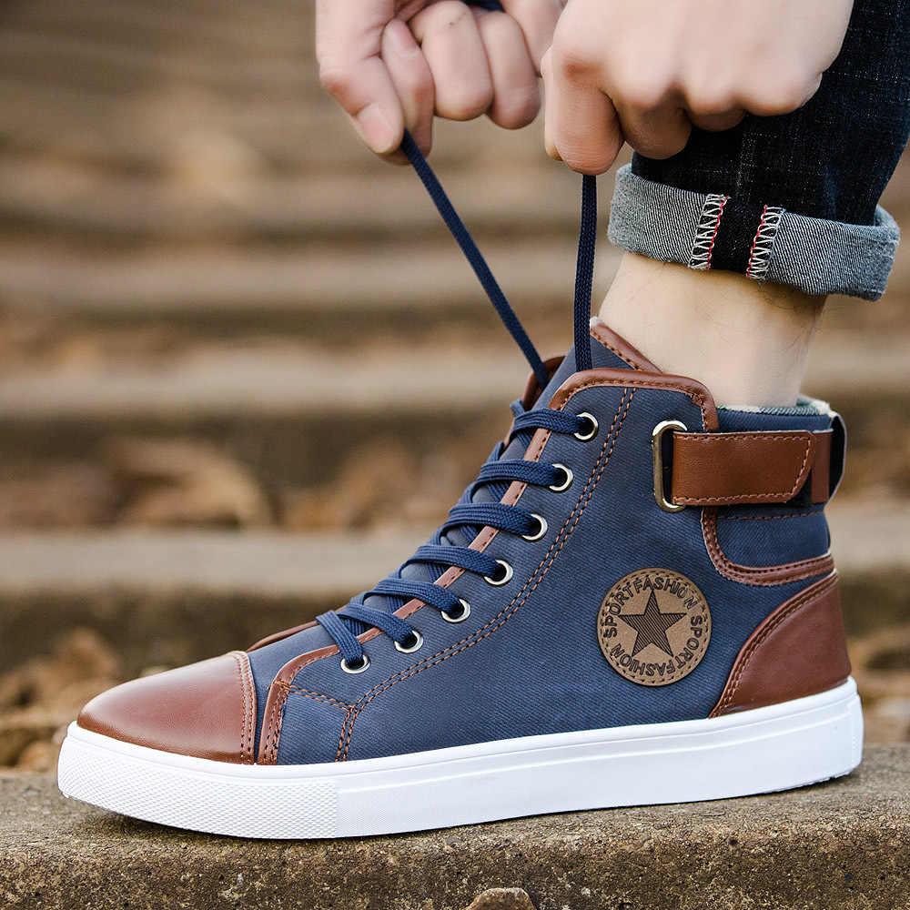 2019 סתיו חורף אופנה מותג בד נעלי גברים קלאסי גבוהה חולצות נעלי ספורט לבן שחור עור תחרה עד נוער זכר נעליים יומיומיות