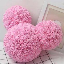 Rosa teddy bear cabeça artificial flor namorados decoração festa de aniversário casamento presente dos namorados