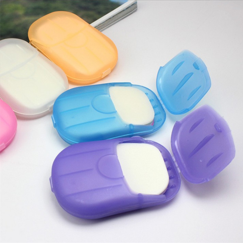 2set Portable Washing Hand Bath Soap Flakes Flower Aroma Paper  With Storage Box Scented Slice Soapbox Bathroom Accessories
