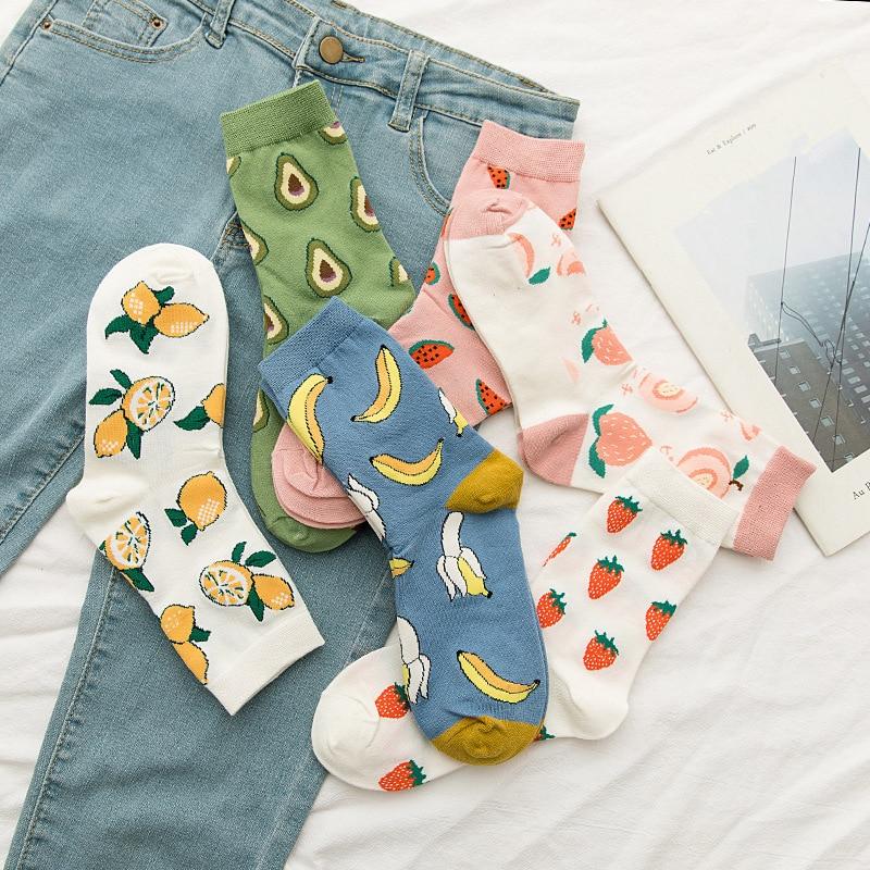 Fruit Hip Hop Cotton Socks Funny Street Happy Socks Women Harajuku  Skateboard Banana Strawberry Watermelon Lemon Socks