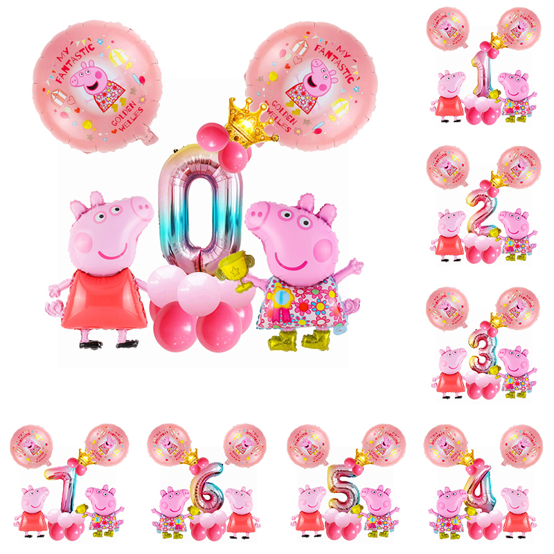 5pcs/set Cartoon Peppa Pig Birthday Party Theme Foil Balloons 32inch Number Globos Pink Pig Toys Party Decirations Supplies