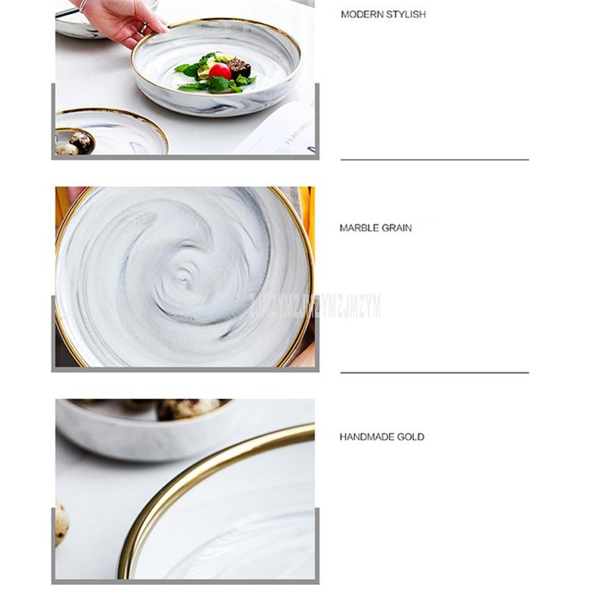 Assiette à Steak en céramique | Modèle de marbre, 8 pouces assiette bord or Style nordique de l'europe assiette à Dessert ronde ménagère 10 pièces/ensemble - 3