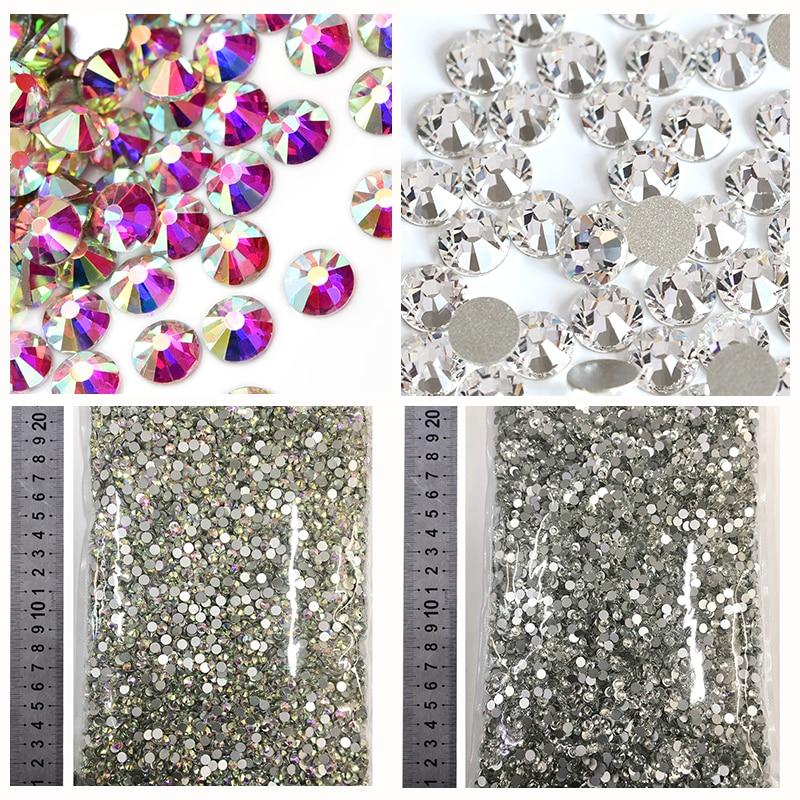 AB Pink 4000 pcs Assorted 6 Sizes Crystal Glass Rhinestones Flatback High Quality hotfix  Wholesale Nail Art