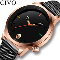 CIVO fashion mens watches top brand luxury waterproof date quartz wristwatch men mesh strap Sports Watch Clock Relogio Masculino