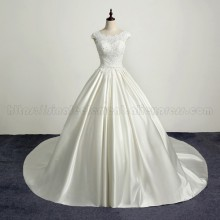 2019 Satin Wedding Dresses Court Train White Ivory Illusion Lace Bridal Gowns Vestido De Noiva